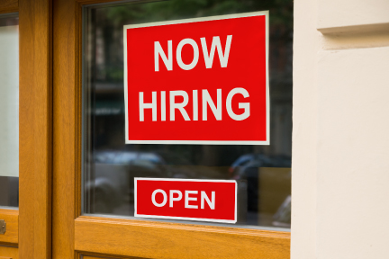 Picture of a now hiring sign