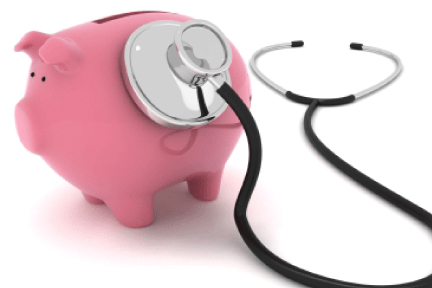 Picture of a piggy bank with a stethoscope