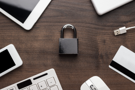 Picture of a lock on a desk