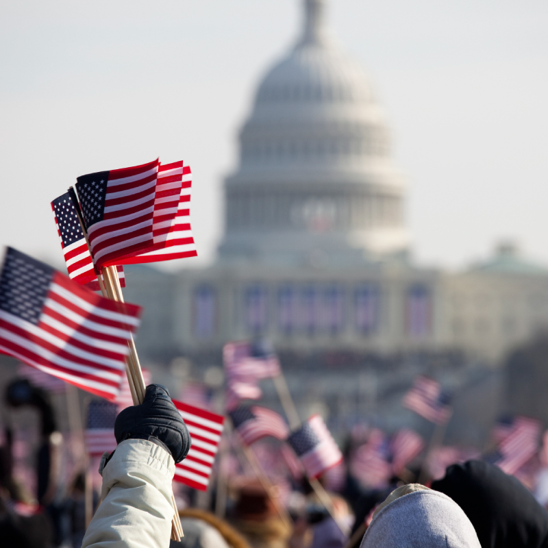 Picture of people holding American Flags