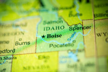 picture of a map centered around idaho state