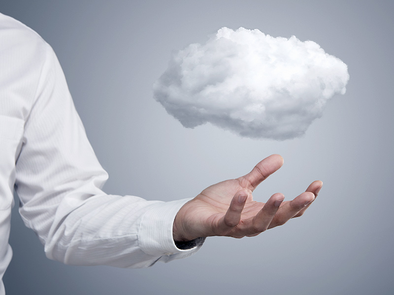 Picture of man with cloud above hand