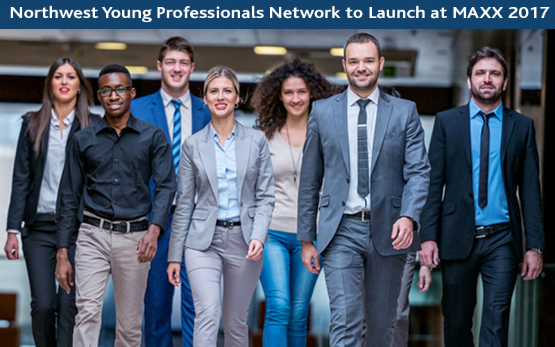 Picture of young business people walking