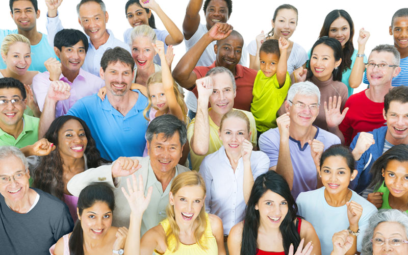 Picture of diverse group celebrating