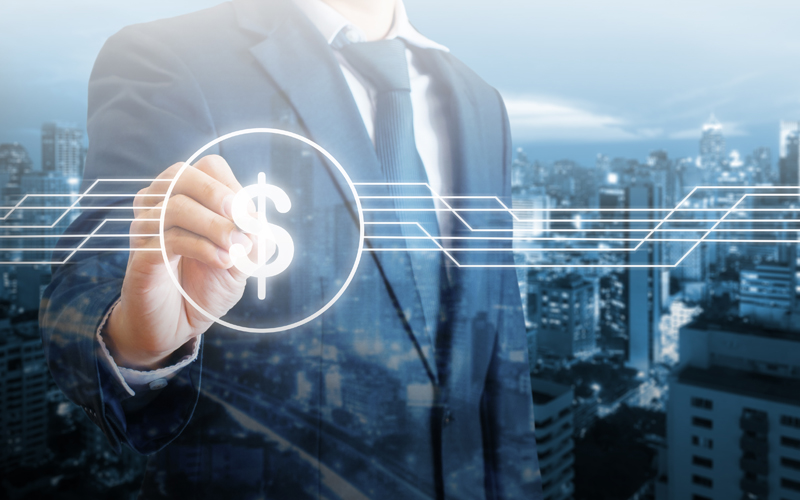 Double exposure of professional businessman touching dollar sign transaction on digital screen in finance and banking concept