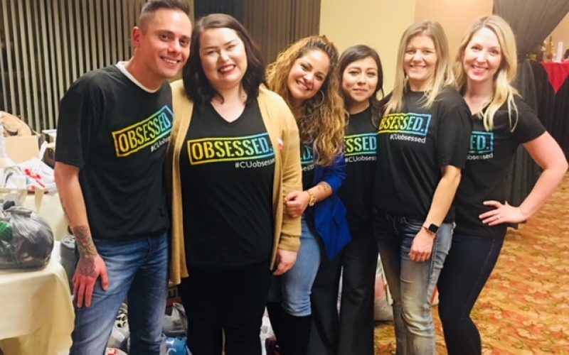 Mt. Hood Chapter of Credit Unions wearing CUobsessed shirts