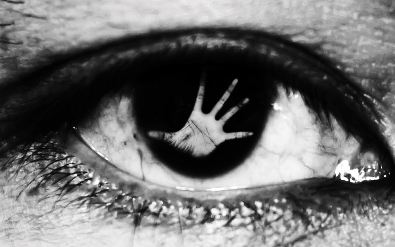 Picture of hand of woman In the twinkling of an eye, in white tone, human trafficking concept