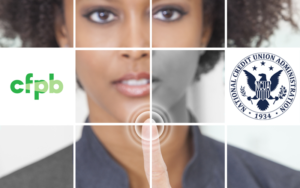 Picture of Photo grid woman pressing a graphic symbol on a touchscreen with CFPB and NAUA Logos
