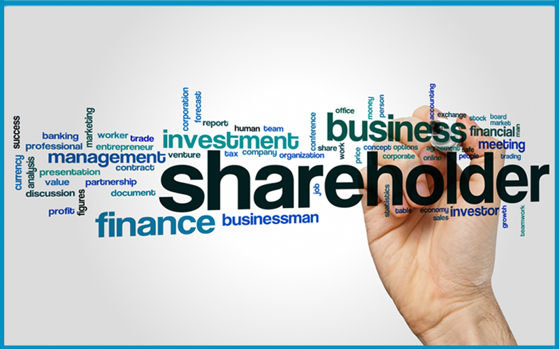 Picture of Shareholder word cloud concept with finance investment related tags