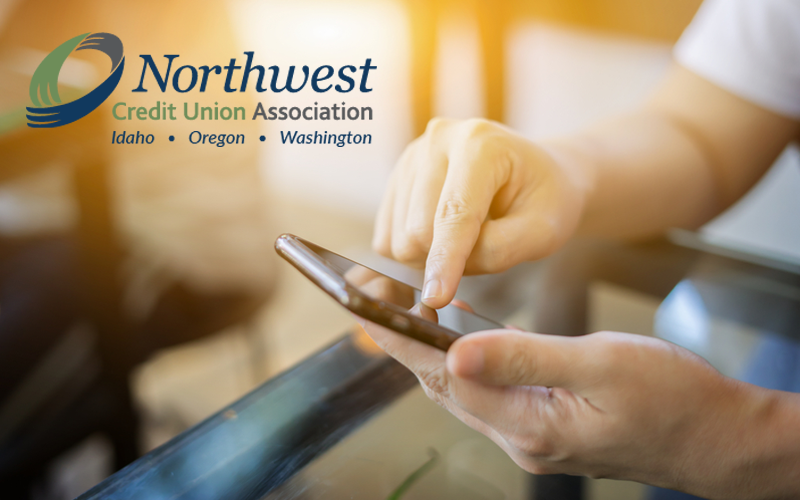 Picture of man on app and NWCUA logo