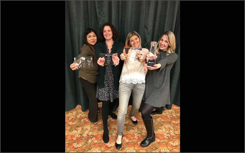 Mt. Hood Chapter outgoing board members were given recognition awards for their years of service during the Turkey Shoot event. From left to right: Karina Perez, Shelan Stritzke, Jamie Koster, and Tiffany Pillars.