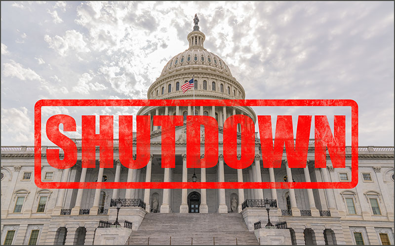 Capitol building with red text reading SHUTDOWN