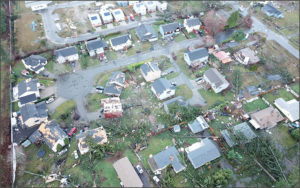Aerial image of tornado damage